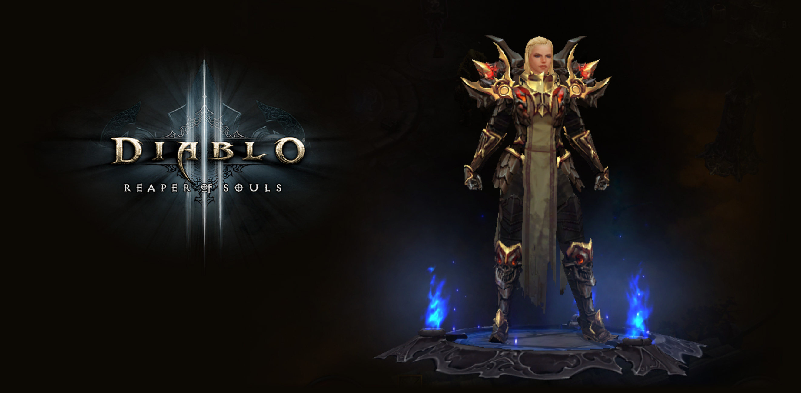 "Diablo 3 Logo and Crusader in the ""Armor of Akkhan"" Legendary set armor"
