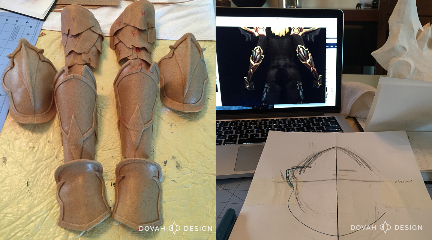 Armor of Akkhan cosplay progress, arm armor and sketches.