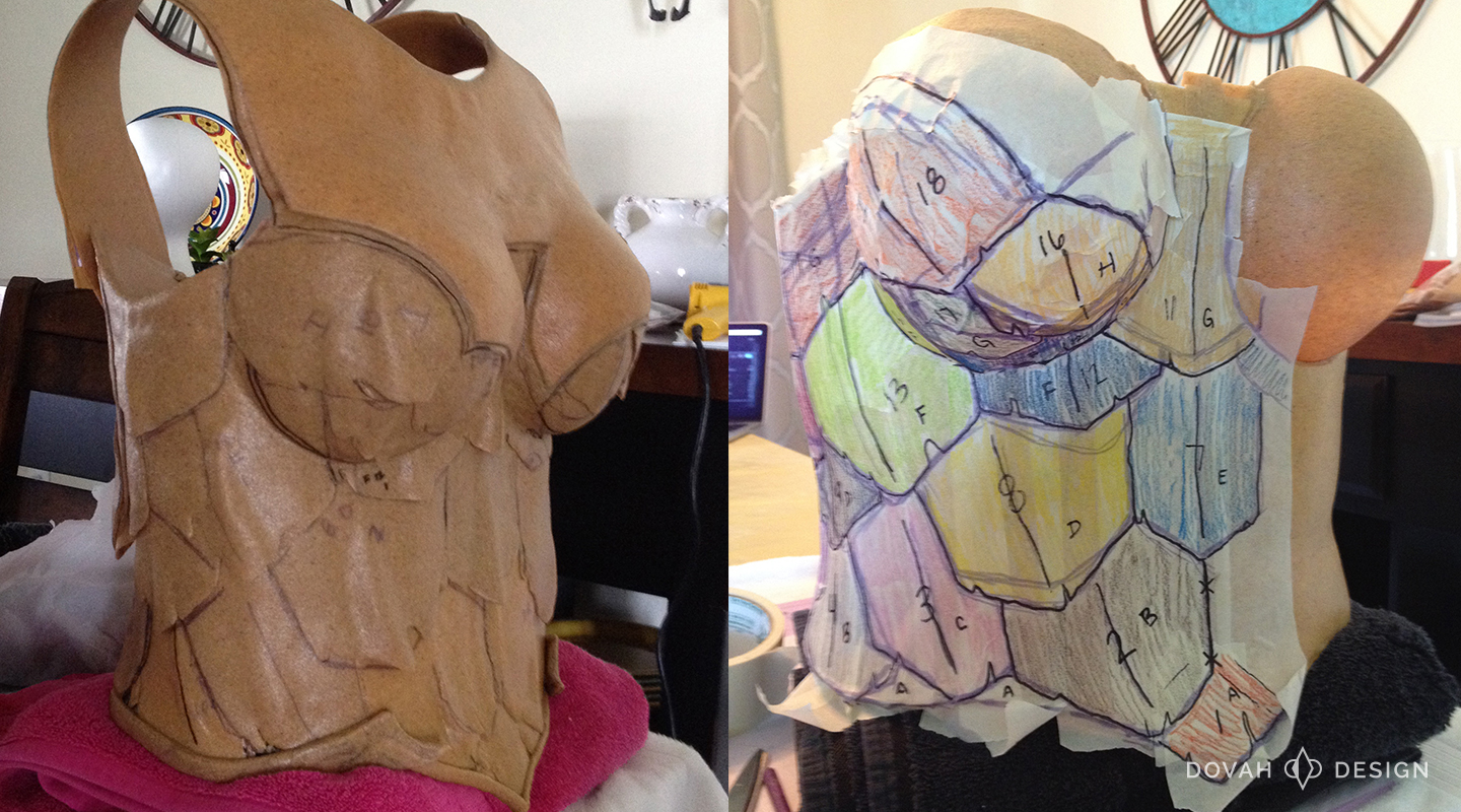 Armor of Akkhan Crusader costume progress, patterning the cuirass and adding worbla scales.
