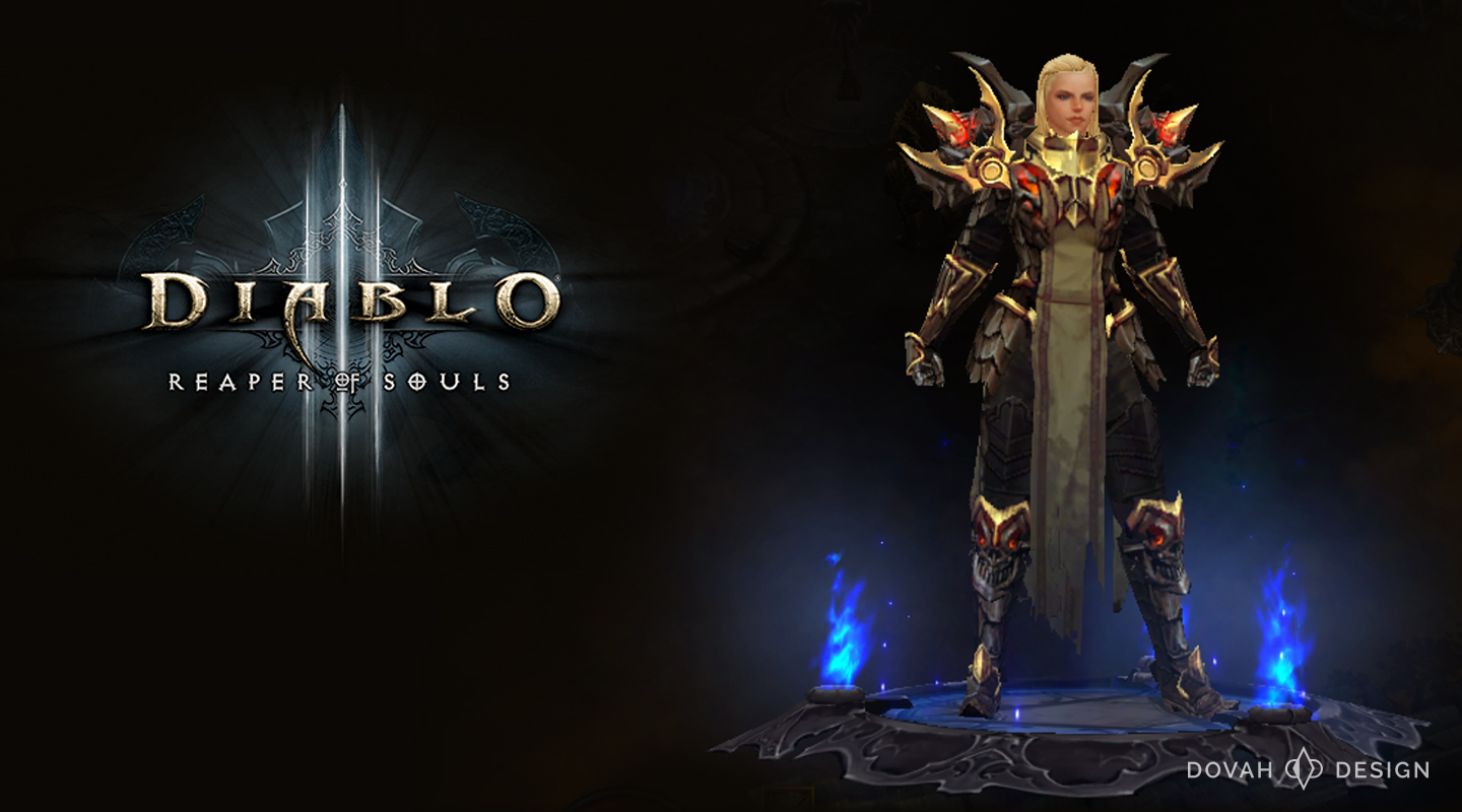 Diablo 3 Female Crusader in the Armor of Akkhan, from in game pause screen.