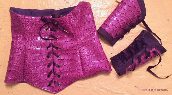 Spyro the Dragon costume - crocodile fabric corset and bracers completed and laced.