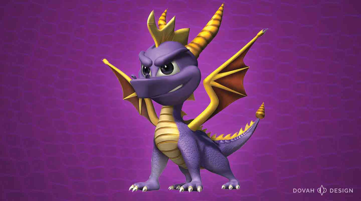 Spyro the Dragon character on purple scaled background.