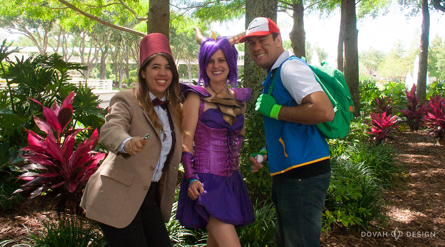 Spyro the Dragon, posing outdoors with Dr. Who and Ash