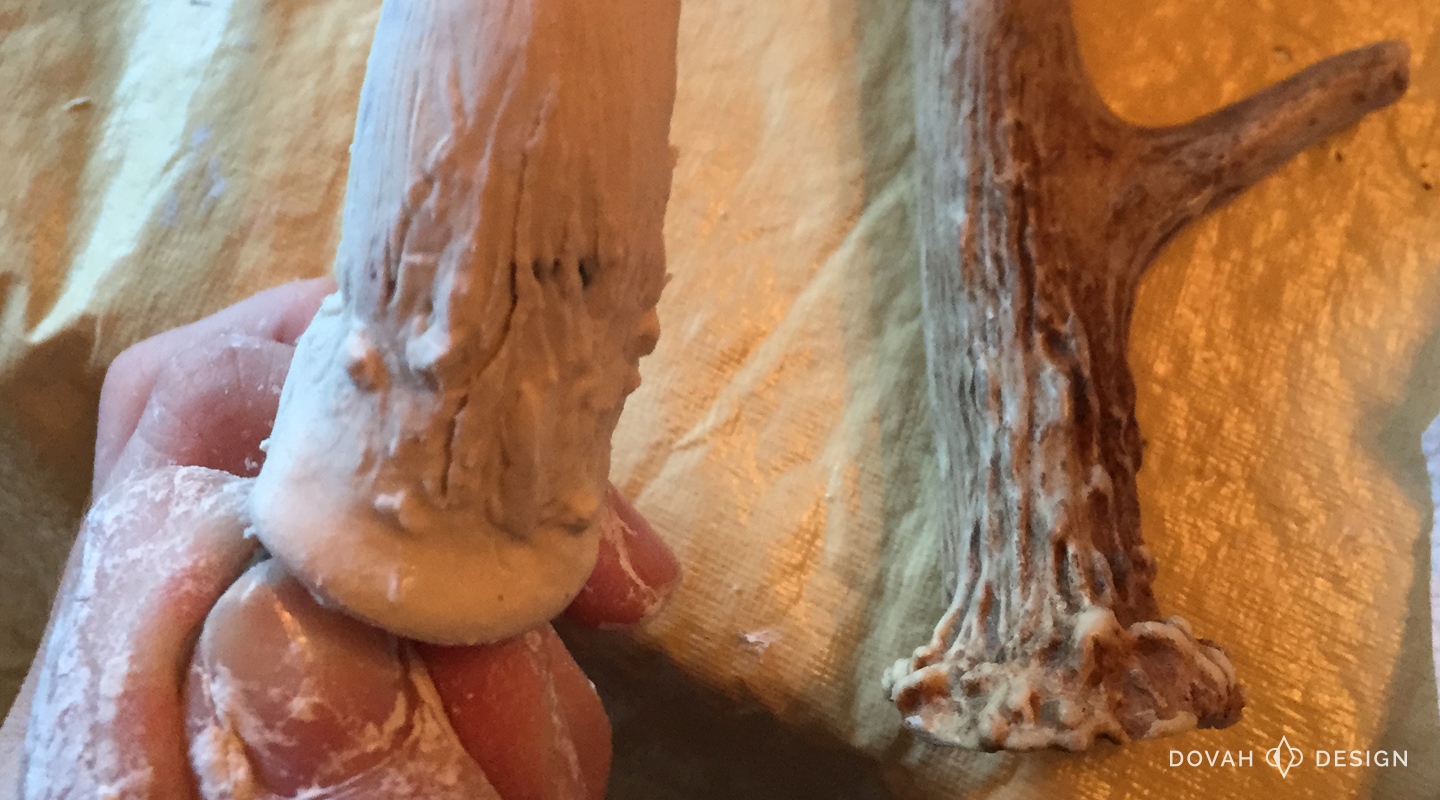Working detail of antler bottom, shown next to a real antler for comparison.
