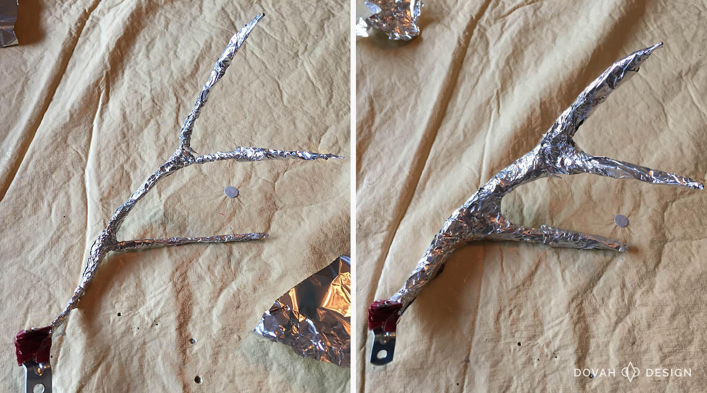 Antler wrapped with one layer of tin foil (left), and four layers of tin foil (right).