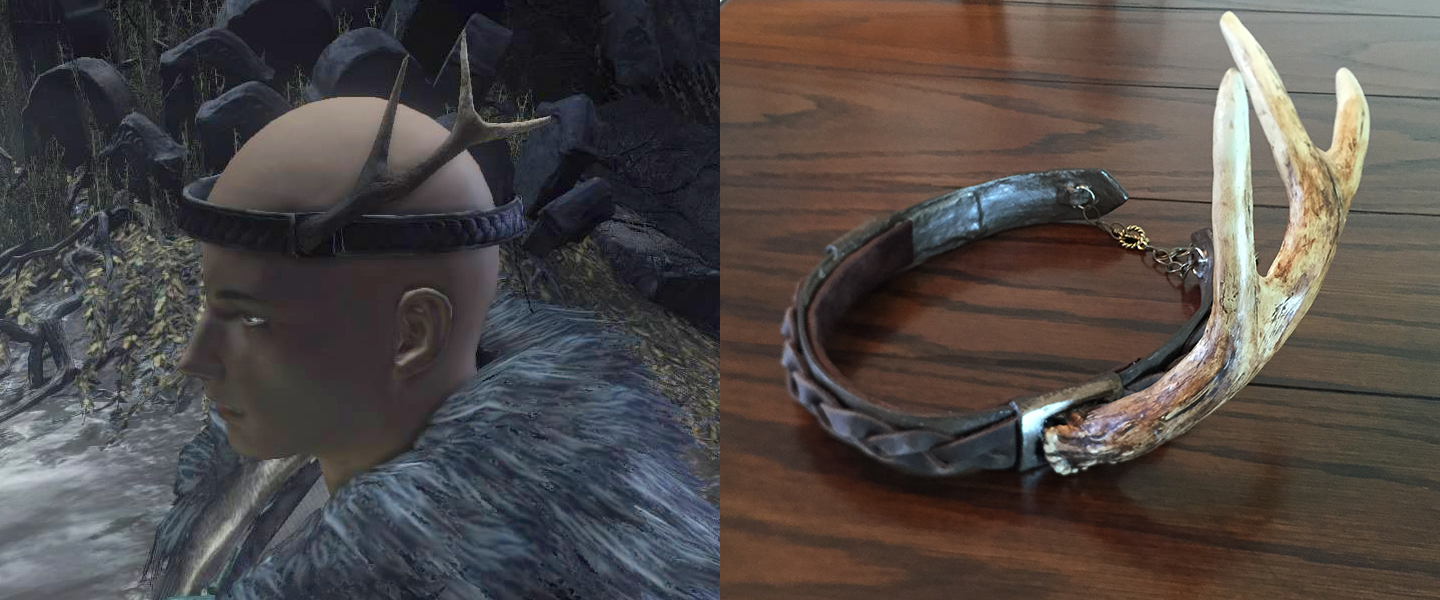 Dark Souls 3 Pyromancer Crown in game artwork (left), and finished prop crown, made using antlers for cosplay tutorial (right).