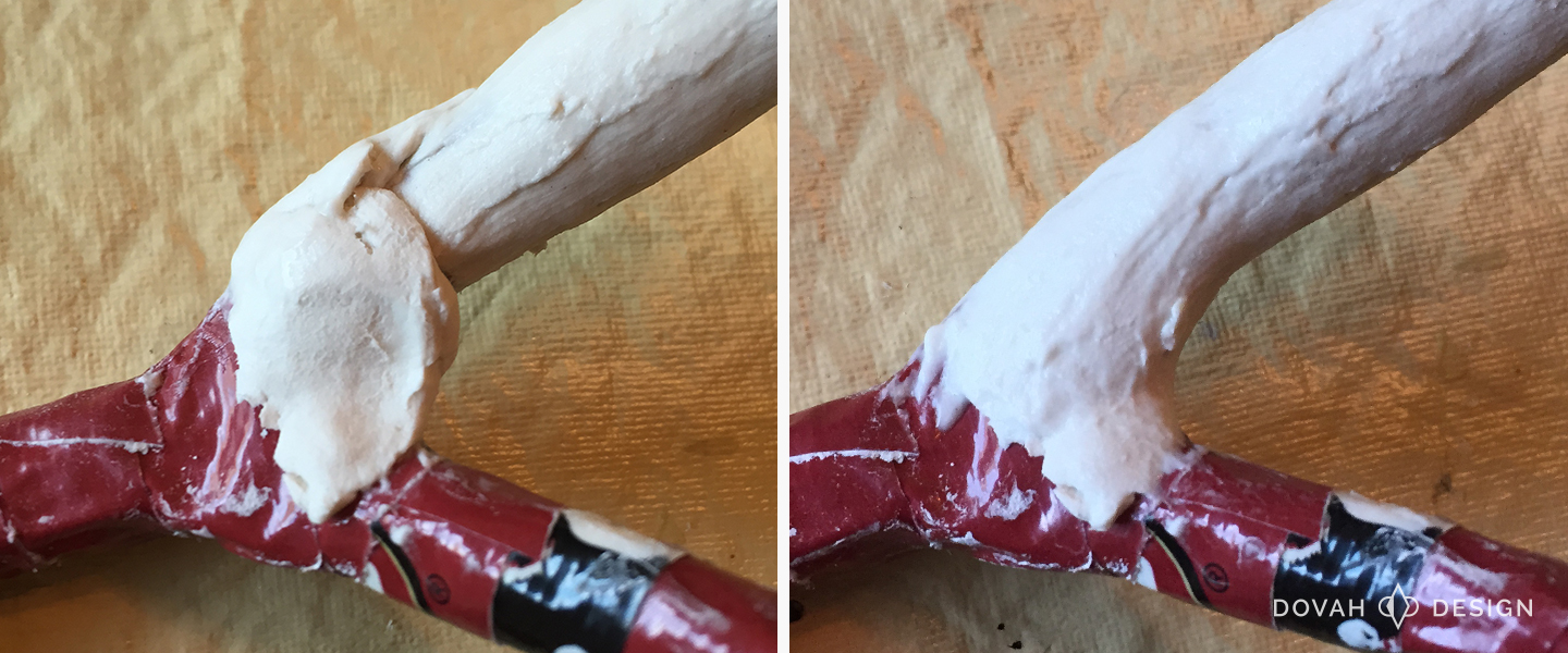 Adding a ball of clay on top of the duct tape antler base (left), and after being smoothed out on antler (right).