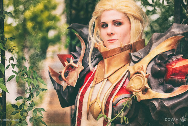 Diablo 3 Armor of Akkhan cosplay by Dovah Design. Close up of upper breastplate and pauldrons, with foliage in the background.