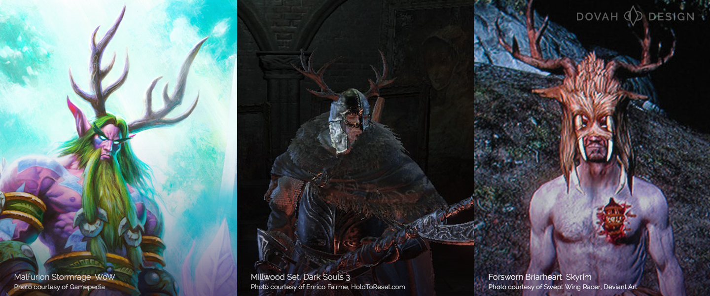 Some sample characters with Antlers for cosplay. Malfurion Stormrage from World of Warcraft (left), Millwood Knight Armor from Dark Souls 3 (center), and a Forsworn Briarheart from Skyrim (right).