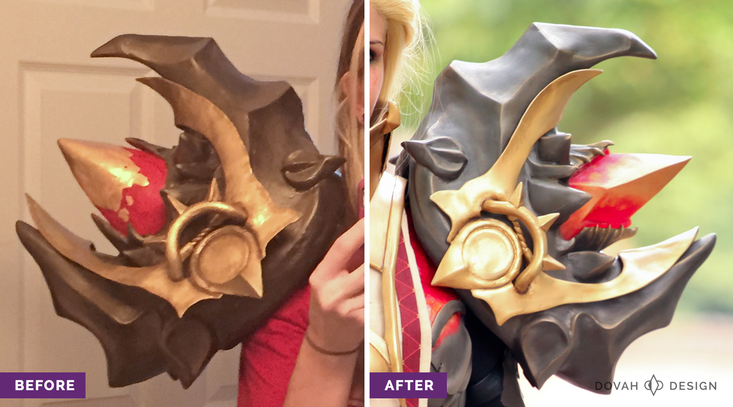 "A before and after split shot of the Pauldrons of Akkhan costume piece. At left, the ""before"" version from October 2015. At right, the new and improved version from September 2016."