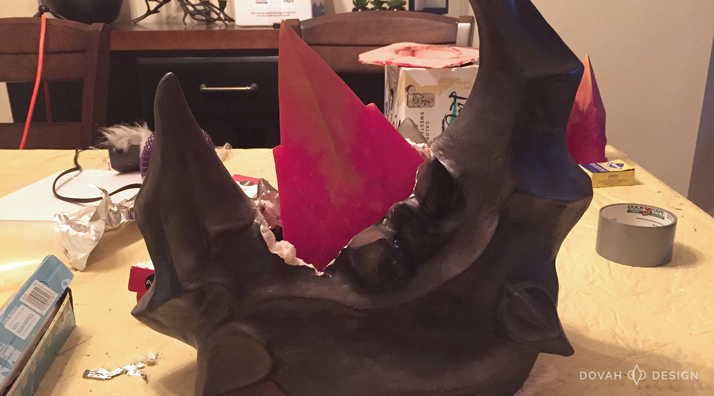 Slush cast spike piece mounted inside a pauldron. Shows the gap left between the pauldron shell and cast spike.