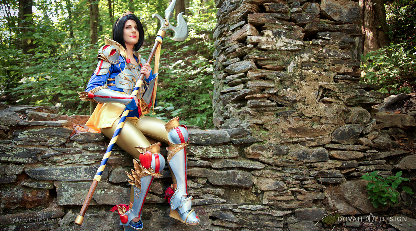 Armored Snow White, sitting on old stone wall while holding halberd, looking up and to the left